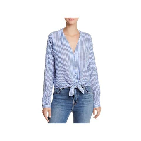 Rails Womens Sloane Casual Top Linen Striped - Azure Stripe