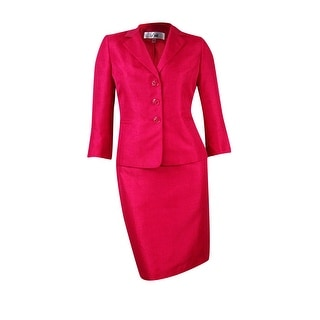 Le Suit Women's Shimmer Sateen Skirt Suit - 14