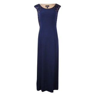Connected Women's Petite Lace Inset Jersey Dress