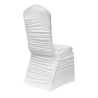 Ruched Fashion Spandex Banquet Chair Cover Fits: Round Banquet or Crown Top Banquet - White, 1 Piece