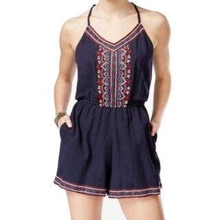 Angie NEW Blue Women's Small S Embroidered Spaghetti Strap V-Neck Romper