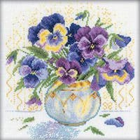 "9""X9"" 14 Count - Pansies Counted Cross Stitch Kit"