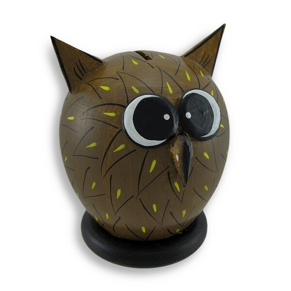 Whimsical Wooden Wide Eyed Owl Coin Bank 7.25 In. - 7.25 X 5.5 X 5.5 inches