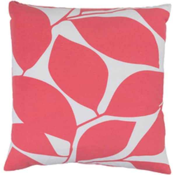 "20"" Lavish Leaves Conch Pink and Timberwolf Gray Decorative Throw Pillow - Down Filler"