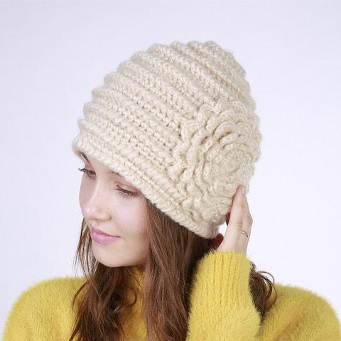 Handmade Horizontal Stripes A Large Flower Fashion Knitted Wool Warm Female Hat