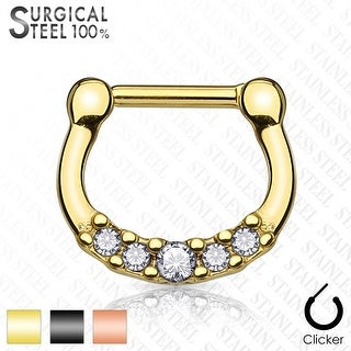Lined Crystals on Titanium Anodized Surgical Steel Septum Clicker - 16GA (Sold Ind.)