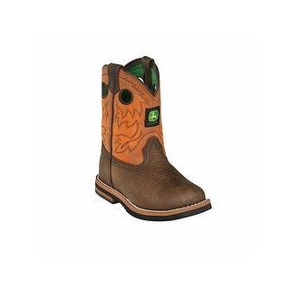 John Deere Western Boots Boys Kids Round Toe Dark Brown Rust JD1319