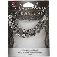 Jewelry Basics Metal Beads 7mm 39/Pkg-Silver Flower - Silver