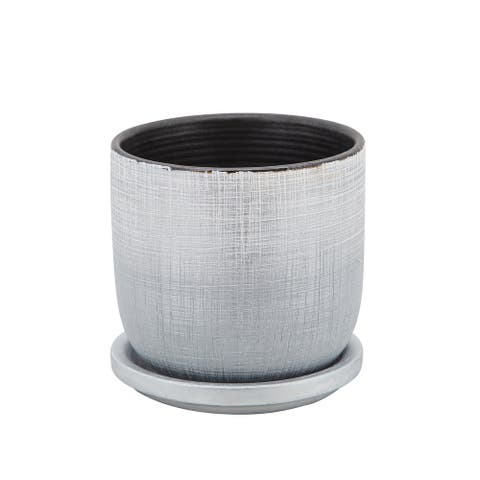 """5"""" Textured Planter With Saucer, Silver - 5Lx5Wx5D"""