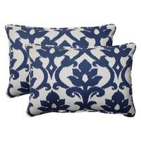 "Set of 2 Navy Floral Victorian Outdoor Corded Rectangular Throw Pillows 24.5"" - Blue"