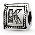 Sterling Silver Reflections Letter K Triangle Block Bead (4mm Diameter Hole) - Thumbnail 0