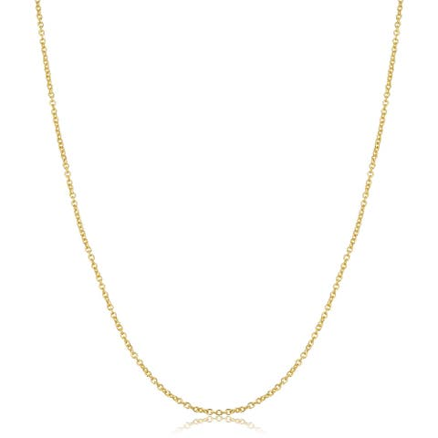 14k Yellow Gold Filled 1.5 millimeter Cable Chain Pendant Necklace (14 to 30 inches)