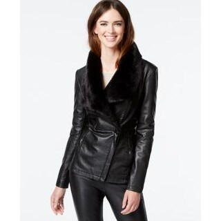 Kenneth Cole Faux-Fur-Trim Faux-Leather Jacket Black Extra Small