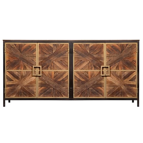 Harp & Finial Athens Reclaimed Walnut with Black and Gold Sideboard