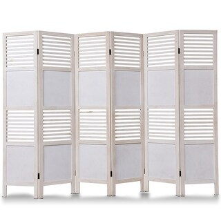 Costway 6 Panel White Room Divider Wood Folding Freestanding Partition Privacy Screen