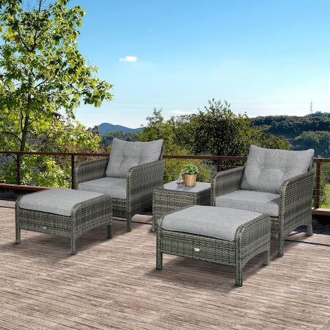 Outsunny 5 Piece Rattan Wicker Outdoor Patio Conversation Set with 2 Cushioned Chairs, 2 Ottomans & Glass Table, Grey