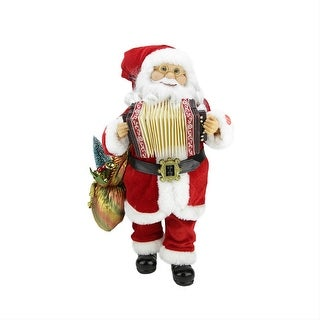 """18"""" Battery Operated Animated & Musical Standing Santa Claus Christmas Figure with Accordion"""