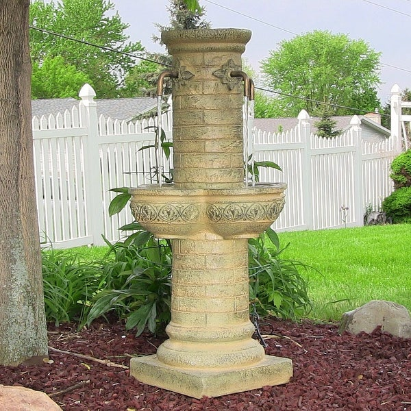 Sunnydaze Old World Roman Water Fountain with LED Lights 39 Inch Tall