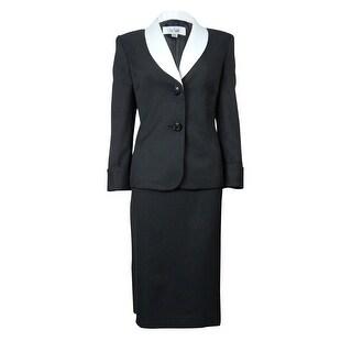Le Suit Women's Crepe Contrast Skirt Suit