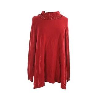 Alfani Embellished Turtleneck Long Sleeve Sweater - S