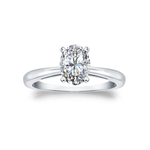 14k Gold 1ctw Lab Grown Oval Diamond Engagement Ring by Ethical Sparkle