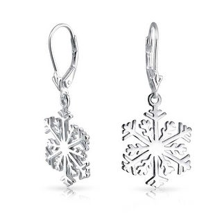 Bling Jewelry Sterling Silver Classic Snowflake Dangle Earrings