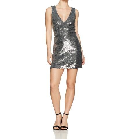 Bardot Silver Women's Size Large L Sequined V-Neck Sheath Dress