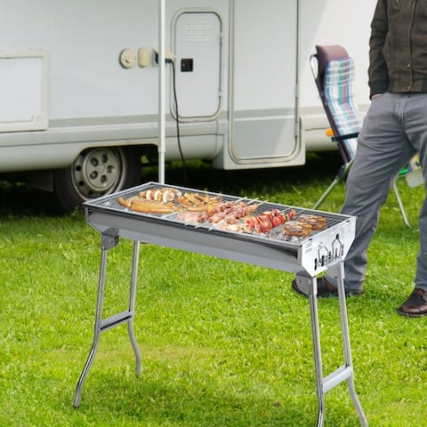 """Outsunny 28"""" Stainless Steel Portable Folding Charcoal BBQ Grill"""
