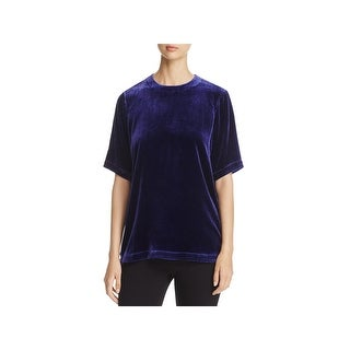 Eileen Fisher Womens Petites Blouse Velvet Short Sleeve