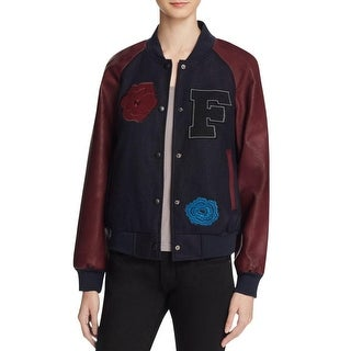 French Connection Womens Varsity Jacket Patchwork Faux Leather