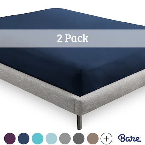 Bare Home 2-Pack Microfiber Fitted Bottom Sheets Deep Pocket