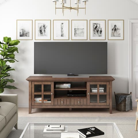 WYNDENHALL Normandy SOLID WOOD 60 inch Wide Transitional TV Media Stand For TVs up to 65 inches - 60'' x 16.5'' x 24