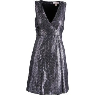 MICHAEL Michael Kors Womens Metallic Sleeveless Cocktail Dress