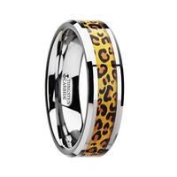 THORSTEN - SAVANNAH Tungsten Wedding Ring with Cheetah Print Animal Design Inlay - 6mm
