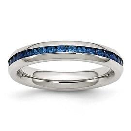 Stainless Steel 4mm September Blue CZ Ring