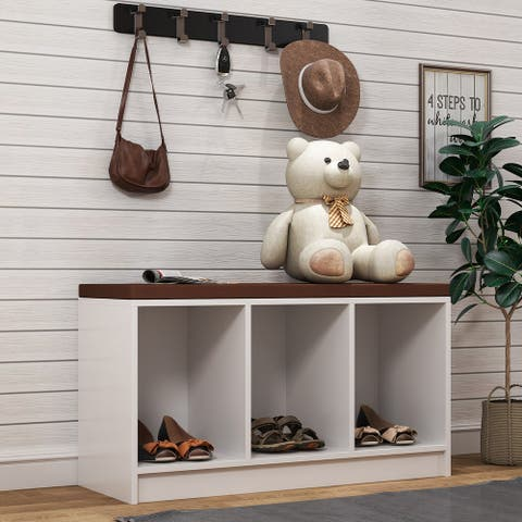Merax 3-Cube Wooden Storage Bench with Cushion