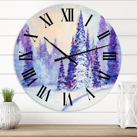 Designart 'Winter Road in The Forest' Farmhouse wall clock