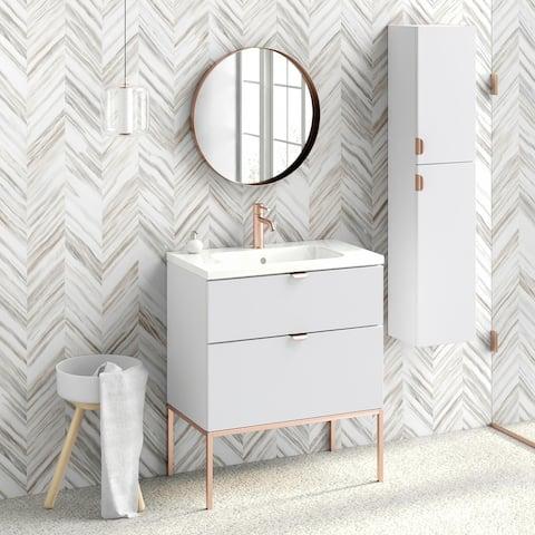 "32"" Bathroom Vanity Cabinet + Ceramic Sink Set Aspen W32 X H35 X D18 in RHD White"