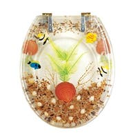 Polyresin Toilet Seat Sandy Shore Standard Round Brass PVD | Renovator's Supply