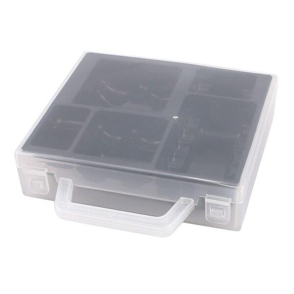 Unique Bargains Black Clear Plastic Battery Batteries Storage Box Container Organizer w Handle