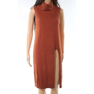 Leith Brown Womens Size Small S Turtleneck Slit Knit Sweater Dress