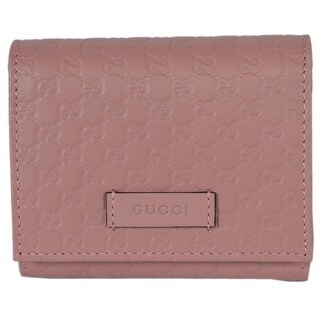 Gucci 510317 Pink Leather Micro GG Guccissima Small French Wallet W/Coin - 4.5 x 4 inches