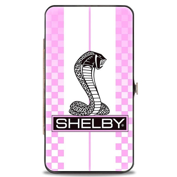 Shelby Tiffany Box Checker Stripe White Pinks Black Hinged Wallet - One Size Fits most