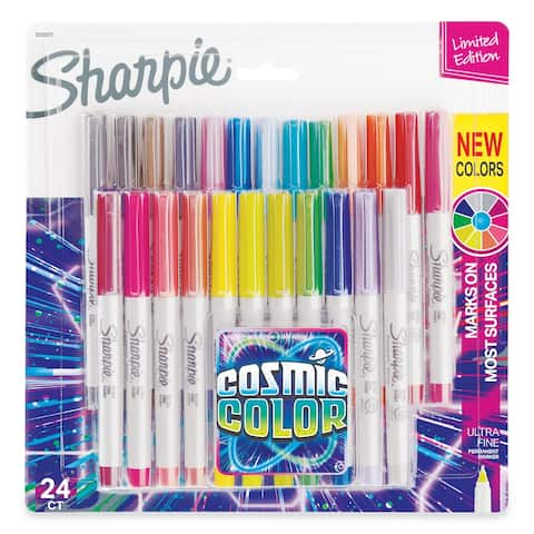 Cosmic Color Permanent Markers, Extra-Fine Needle Tip, Assorted Colors, 24/Pack - Clear