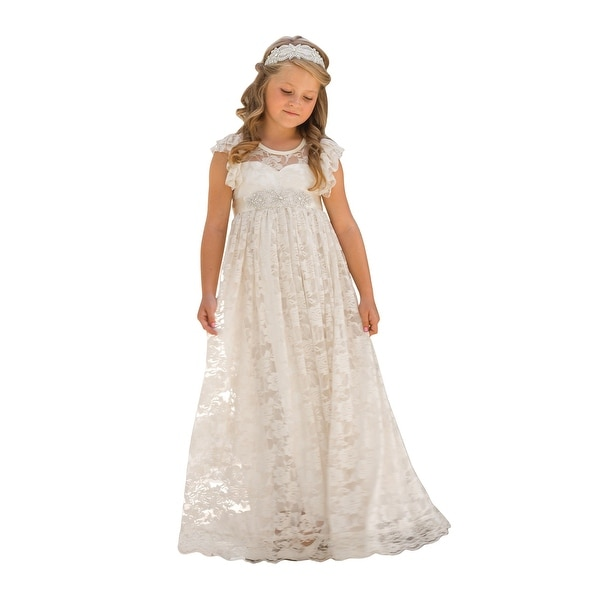 3f50da77f8a1 Shop Little Girls Ivory Sash Lace Angel Sleeve Open Back Bow Flower Girl  Dress - Free Shipping Today - Overstock - 23084704