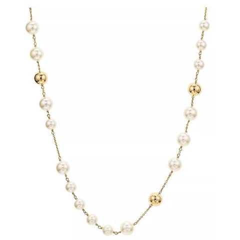 Tory Burch Womens Gold Pearl Rosary Logo Long Necklace