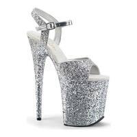 Pleaser Women's Flamingo 810LG Ankle-Strap Sandal Silver Glitter/Silver Glitter