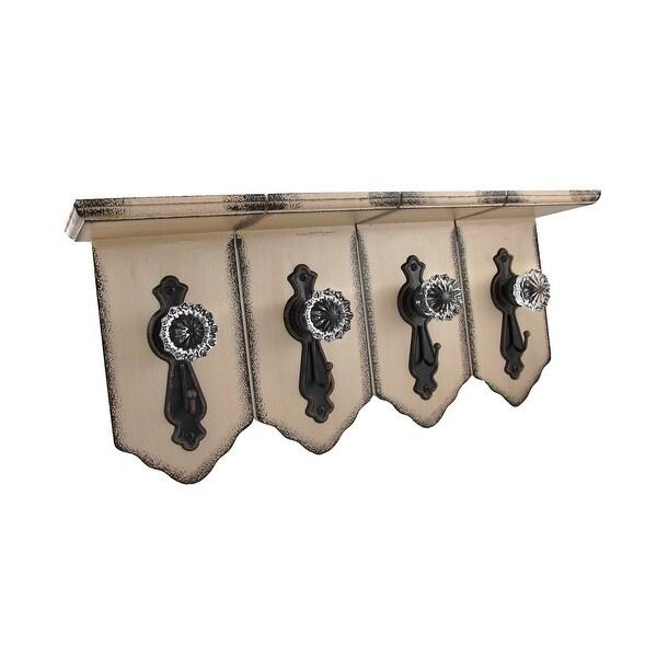 Distressed Finish Wall Shelf W/ Antique Clear Door Knob Hooks