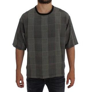 Dolce & Gabbana Dolce & Gabbana Gray Checkered Silk Crewneck T-shirt