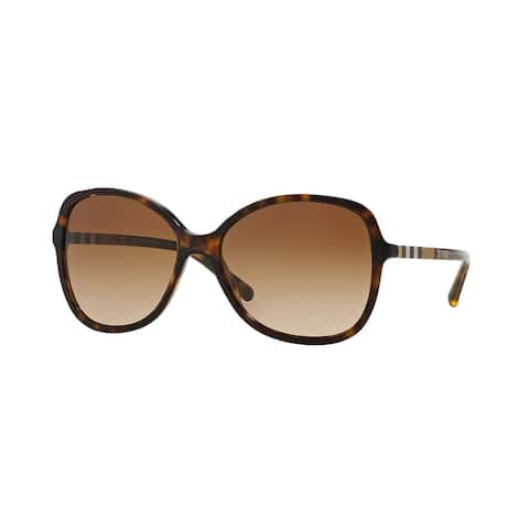 Burberry Women BE4197 300213 Havana Plastic Rectangle Sunglasses